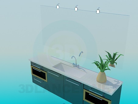 3d model Washbasin with mirror and side tables - preview