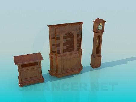 3d модель Набор антикварной мебели – превью