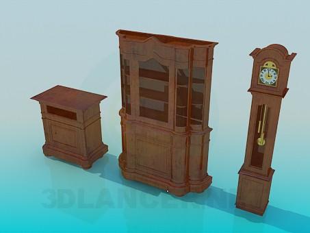 modelo 3D Juego de muebles antiguos - escuchar