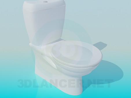 3d model Toilet bowl with a round lid - preview