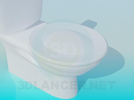 3d модель Унитаз с круглой крышкой – превью