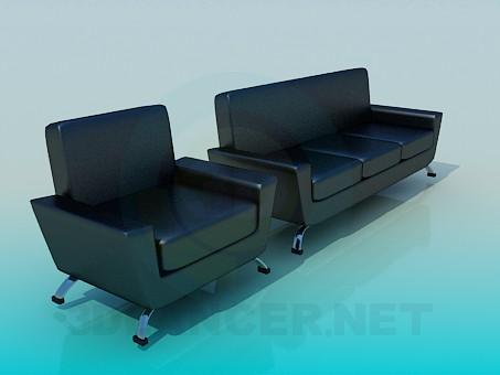 3d модель Кожаный диван и кресло – превью