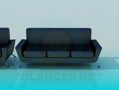 3d model Leather sofa and chair - preview