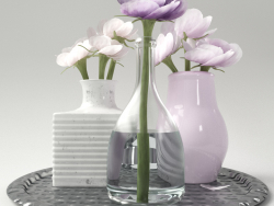 Vases with flowers on a tray