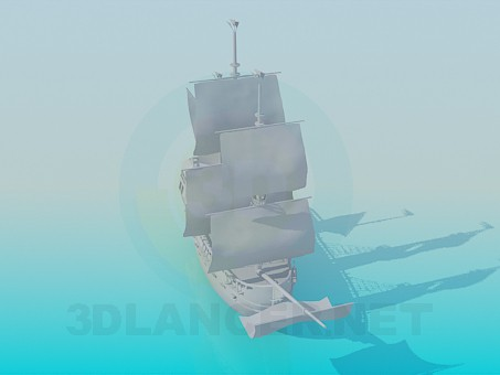 3d модель Деревянный корабль – превью