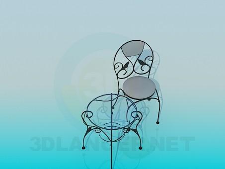 3d моделирование Кофейный столик и стульчик модель скачать бесплатно