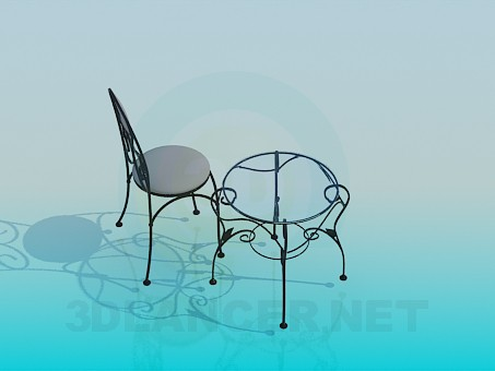 3d model Coffee table and chair - preview
