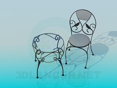 modelo 3D Mesa y silla - escuchar