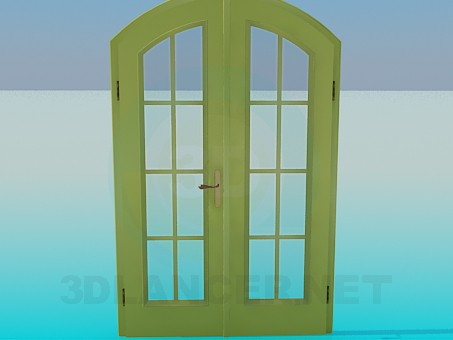 3d modeling Double door with glass model free download