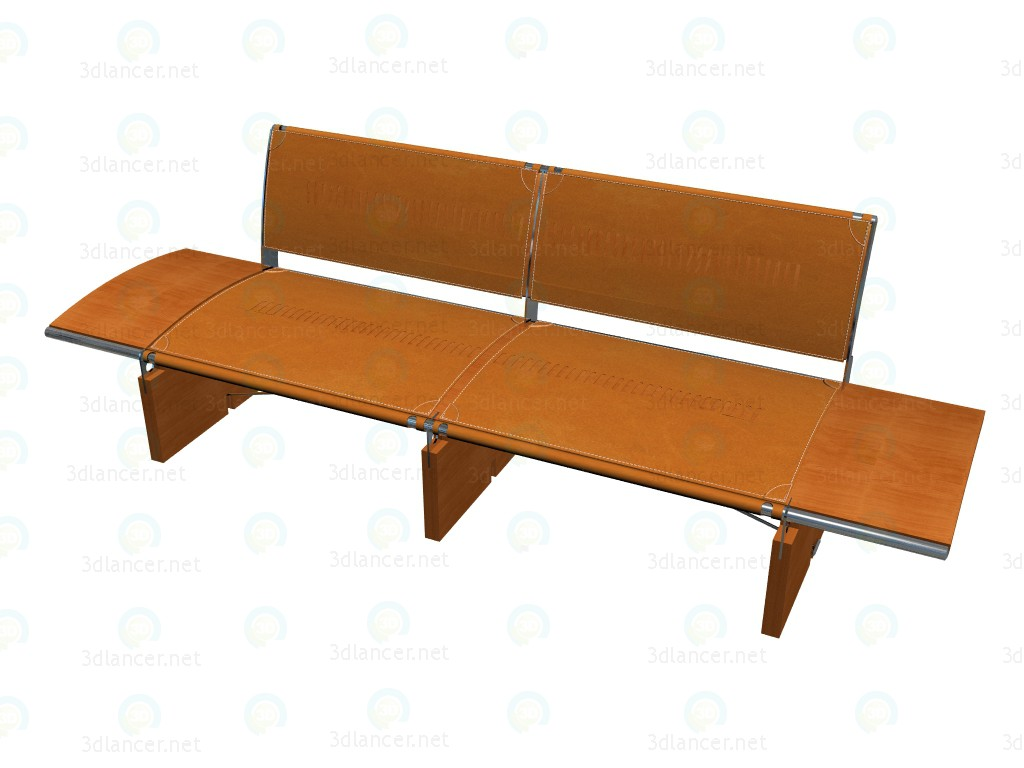 3d model Africa bench with backrest - preview