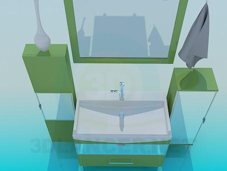 3d моделирование Мебель для умывальника с зеркалом модель скачать бесплатно