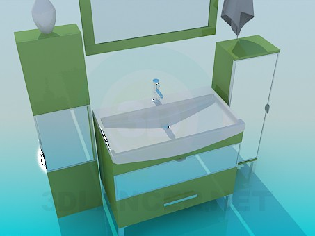 3d model Furniture washbasin with mirror - preview