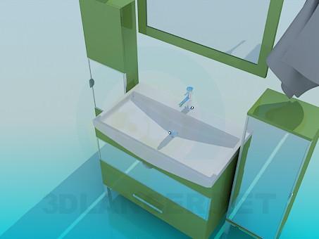3d модель Мебель для умывальника с зеркалом – превью