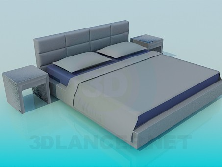 3d model Bed with tables - preview