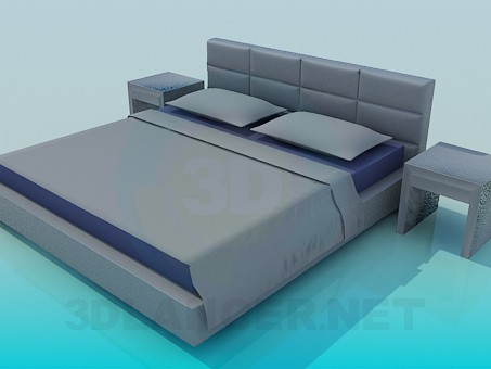 3d модель Кровать со столиками – превью