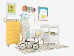 Una serie di mobili e accessori per bambini