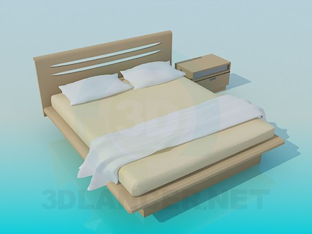 3d model Double bed and bedside table - preview