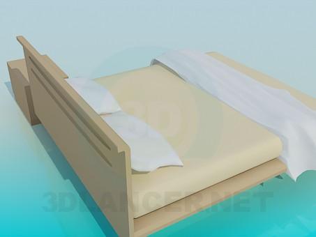 3d модель Двуспальная кровать и тумба – превью