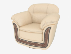 Light leather armchair with wood inlays (1170x1030x950)