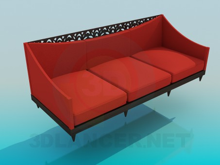 3d model sofa with carved - preview