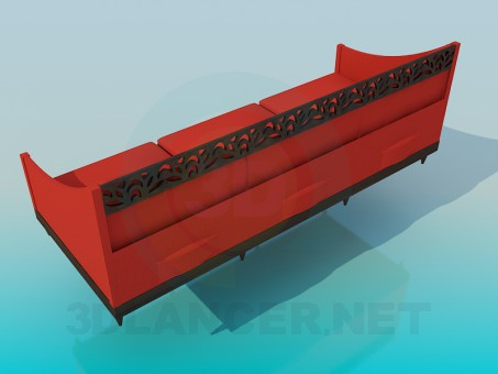 modelo 3D sofá con tallado - escuchar
