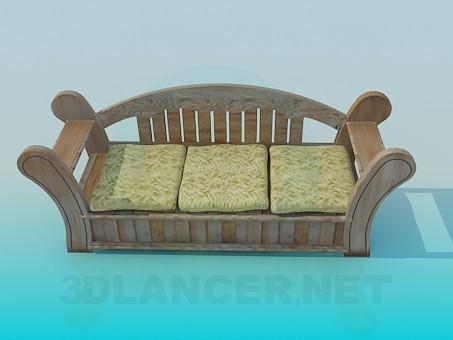 3d modeling Wooden sofa model free download