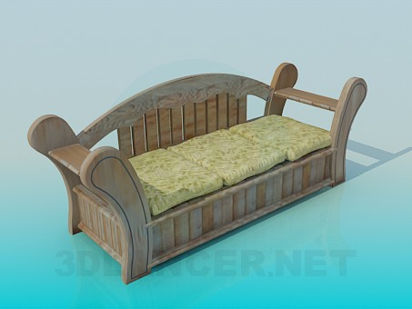 3d model Wooden sofa - preview