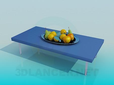 modelo 3D Una mesa con frutas - escuchar