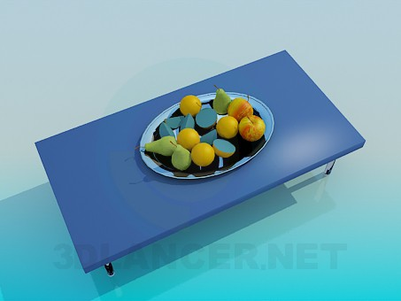 3d model A table with fruits - preview