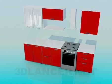 3d модель Невеликий кухонний гарнітур – превью