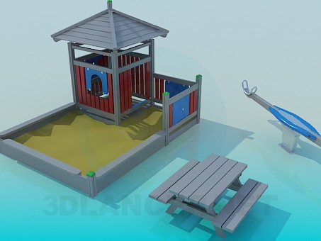 3d model Sandbox and swing - preview