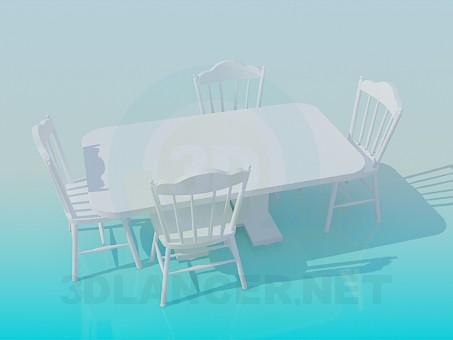 descarga gratuita de 3D modelado modelo Mesa con sillas
