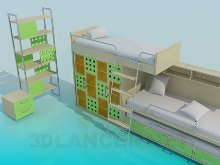 3d modeling The two-storey children's bed with a shelf model free download