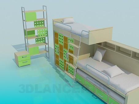 3d model The two-storey children's bed with a shelf - preview
