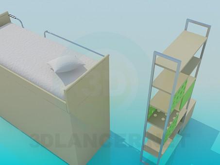 modelo 3D Cama infantil de dos plantas con un estante - escuchar