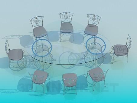 3d model Banquet table - preview