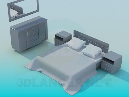 3d модель Мебель в спальную – превью