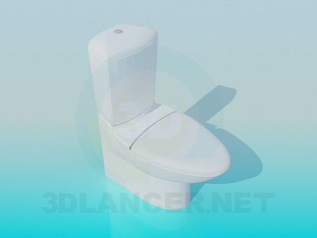 3d model toilet with elongated lid - preview