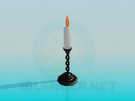 3d модель Подсвечник со свечей – превью