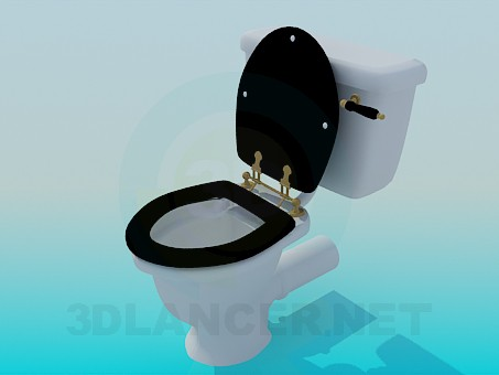 3d model Toilet bowl with lid in a retro style - preview