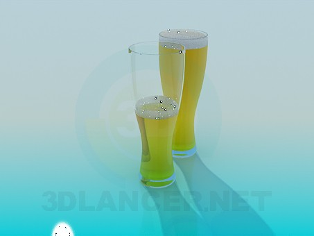 3d model Glasses of beer - preview