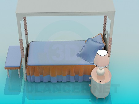 3d model Baby bed with a roof - preview