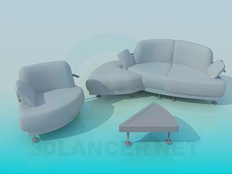 Döşemeli mobilya bir dizi model ücretsiz 3D modelleme indir