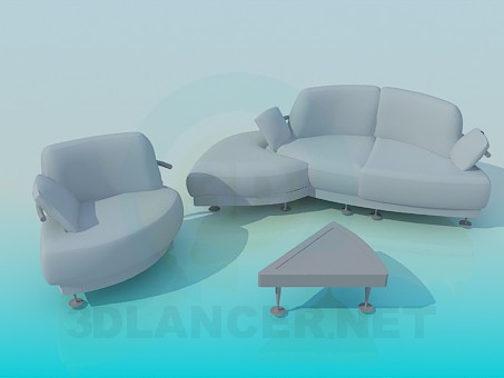 modello 3D Un set di mobili imbottiti - anteprima