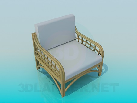 3d model Chair with wicker armrests and legs - preview