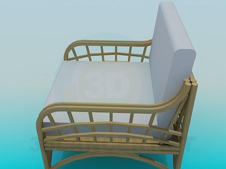 3d модель Кресло с плетеными подлокотниками и ножками – превью
