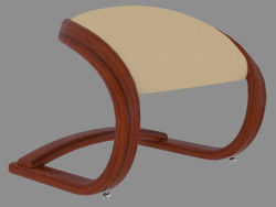 Puff with leather upholstery in Art Nouveau style
