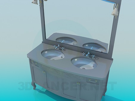 3d modeling Double washbasin with mirror model free download