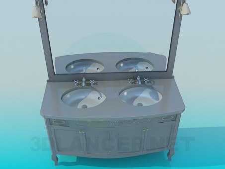 3d model Double washbasin with mirror - preview