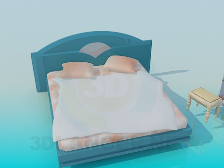 3d modeling Bed with cabinet and adaptable chair model free download
